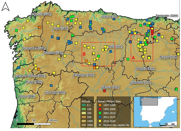 Roman military sites in northwestern Iberian Peninsula according to their discovery or publication date. The major administrative units mentioned in this paper are Galicia (GAL), Asturias (AST), Castile and León (CyL), Cantabria (CAN) and northern Portugal (POR)