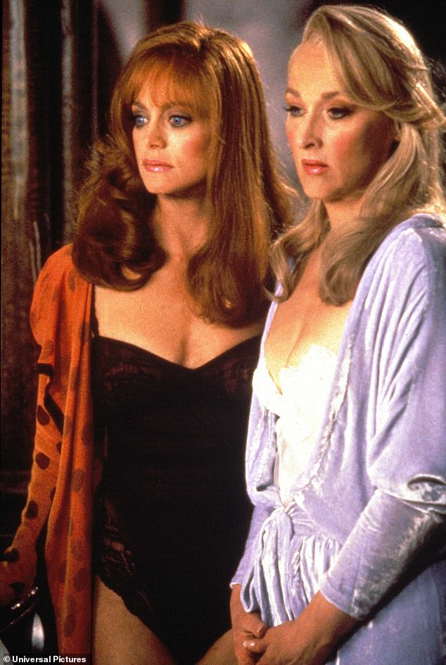 Always youthful: Hawn is seen here in black lingerie next to Meryl Streep in the film Death Becomes Her in 1992