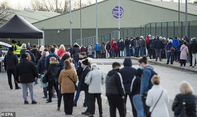 Operation Moonshot could one day be used to help people get into busy venues or onto flights or ferries abroad, the Government has suggested - but there are concerns that inaccurate tests will give infected people a false sense of security (Pictured: People queuing for tests in Liverpool)