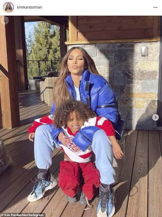 Kissy:The star shared several other photos earlier this month from the same Lake Tahoe rental. In one shot, she was with her son Saint, who is now five