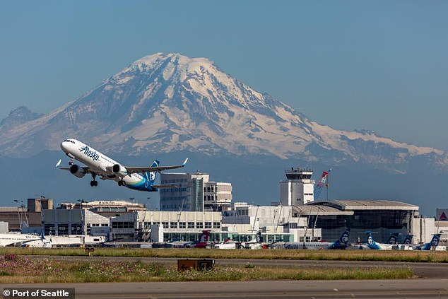 The airline deplaned the entire plane at Seattle-Tacoma International Airport (pictured) and subjected everyone to another security screening
