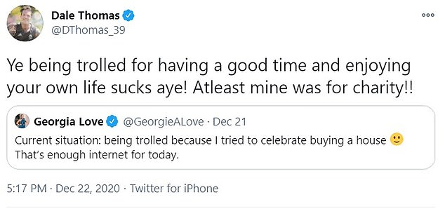 Savage: Dale never forgot the way Georgia stuck the boot in at one of his lowest moments, and brilliantly hit back at her on Tuesday after she complained on Twitter about being trolled
