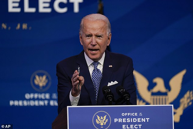 President-elect Joe Biden said Tuesday in Wilmington that he still believed the revelations from Hunter Biden's laptop were part of a Russian disinformation scheme as he called the reporter who asked about it a 'one horse pony'