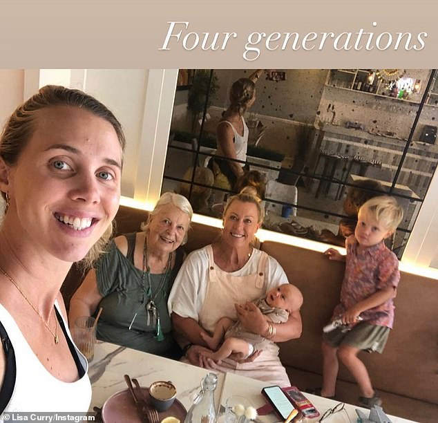 Quality time:Lisa Curry (centre) spent time with mother Pat, daughter Morgan and her grandchildren on Tuesday, three months after the tragic death of her daughter Jaimi Kenny