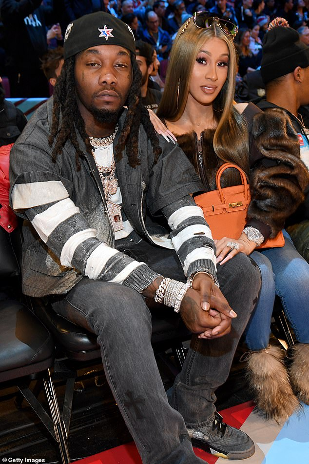 Luxury:Offset, who was not pictured in the video, was heard saying: 'How you like Christmas trees going crazy? Five piece'; Cardi and Offset pictured on February 15, 2020