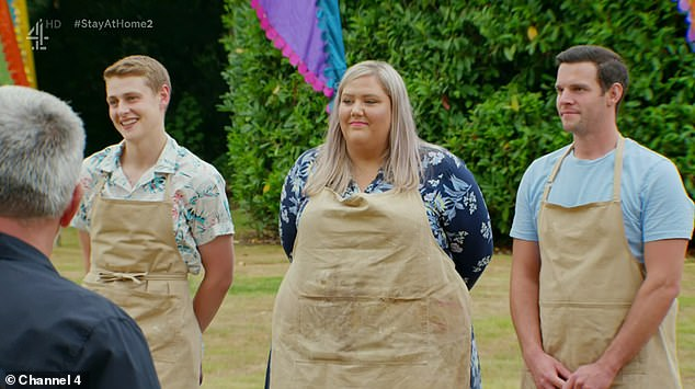Upset: Laura (pictured on Bake Off with Peter Sawkins and Dave Friday) claimed it was a b***l ache to get the virus during the week of Christmas