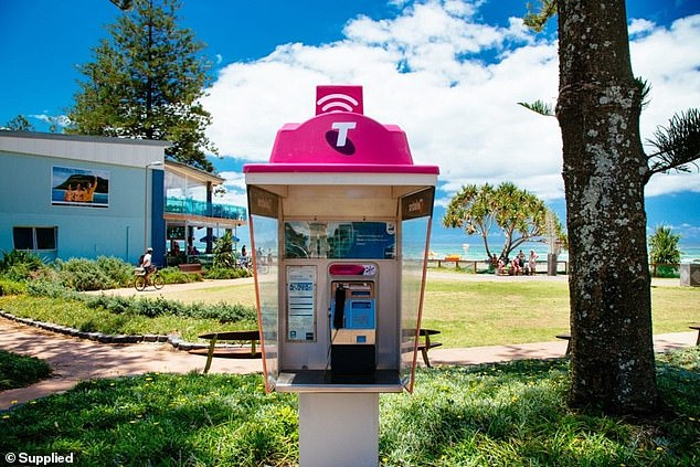 A Telstra payphone and WiFi hotspot next the beach.The telecommunication giant is also making selected WiFi hotspots free during the same period from Thursday until January 1