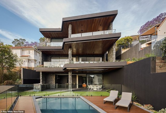 The five storey home is in Brisbane's affluent suburb of Hamilton, six kilometres from the CBD