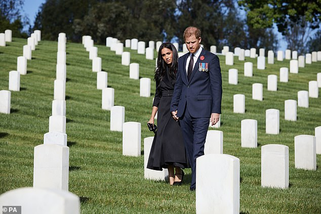 Pictured, the Duke and Duchess of Sussex during a private visit to the Los Angeles National Cemetery on Remembrance Sunday
