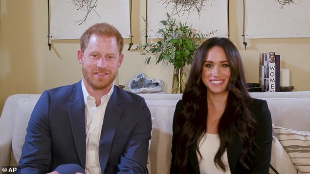 Prince Harry and Meghan Markle have been 'drip-feeding press' with content, royal expert Dickie Arbiter has claimed. Pictured, the royals hosting a special Time100 talk Tuesday October 20, focusing on the digital world