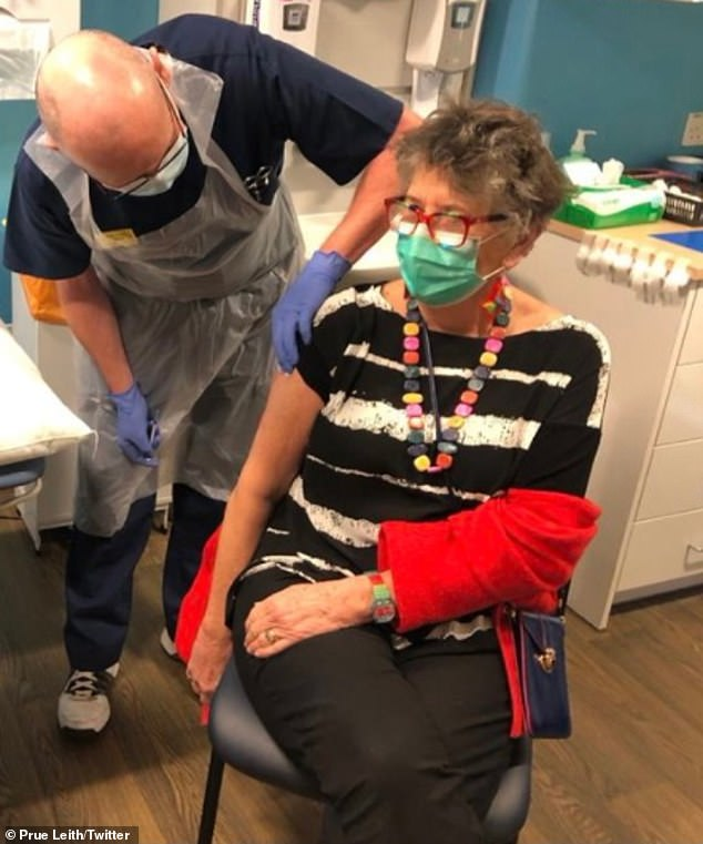 Protecting herself: Bake Off judge Prue Leith, 80, uploaded a photo of a nurse giving her the Pfizer / BioNTech injection in December