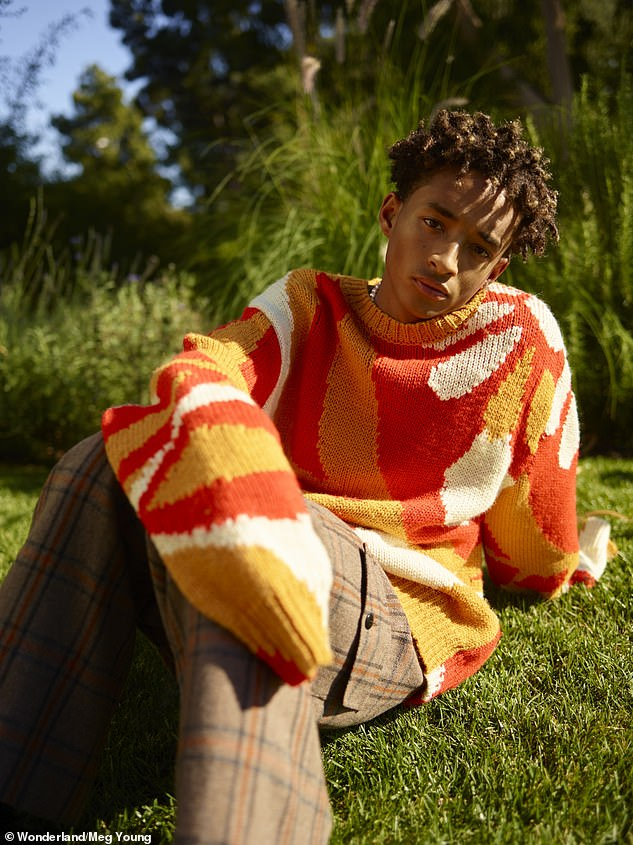 Eclectic: Shrouding his athletic frame with baggy silhouettes, he poses up a storm in corduroy, bright patterned knitwear and tie-dye style prints for photographer Meg Young