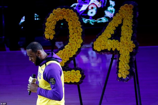 LeBron James, wearing a No. 24 jersey, speaks about Kobe Bryant prior to a game between the Lakers and the Trail Blazers