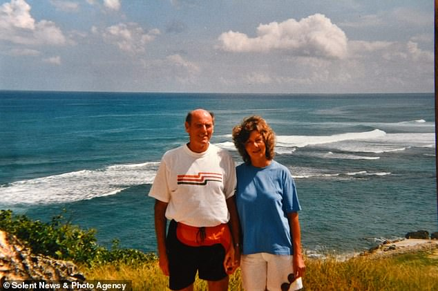 The retired physicist lost his wife Jo to pancreatic cancer in May this year, just nine days after her diagnosis. Pictured: The pair enjoying a trip to Cornwall in 1991