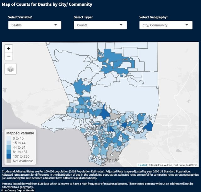 A map charting the spread of deaths across LA County. The survey on social trends suggests that a staggering 3 million of LA County's 10 million residents are breaking the lockdown rules to meet with friends in a social capacity inside homes