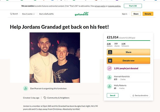 An online appeal to raise cash and save his Christmas, set up only yesterday by a colleague of Mr Green's grandson, had raised just over £21,000 as of Wednesday afternoon