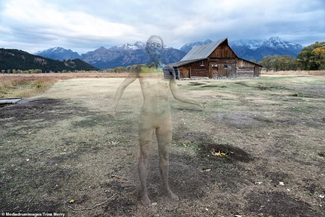 Masked up!She selected 11 models, who all wore KN95 masks — which can be seen in some of the images — the shoot (pictured: Mormon Row, Grand Tetons)