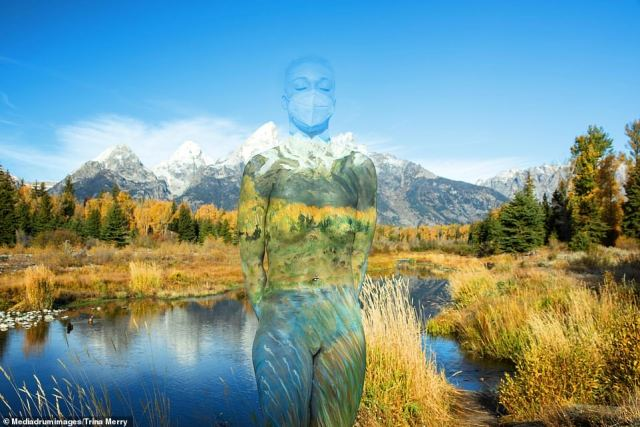 Incredible!An artist's captivating pictures show naked models all but disappearing into stunning nature scenes — thanks to some very cleverly-applied body paint (pictured:Schwabacher Landing, Grand Tetons)