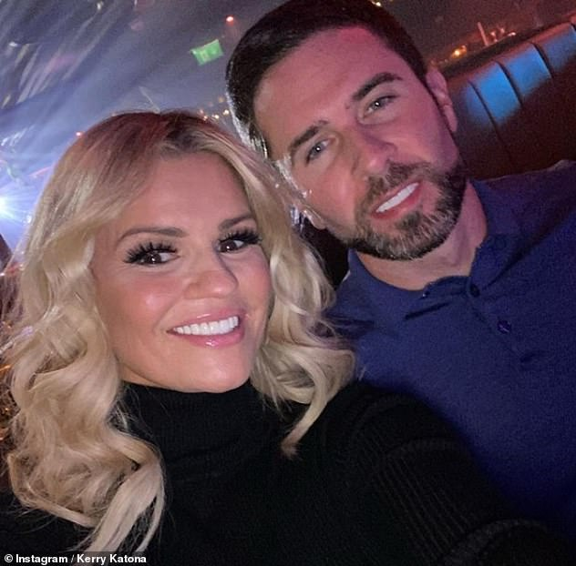 Happier times: Kerry revealed she had tested positive for Covid earlier this month alongside her fiancé Ryan Mahoney just five days after their date night at Proud Cabaret (pictured with her partner, 31, in December)