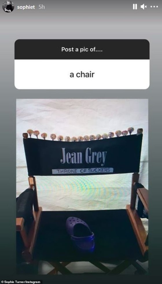 Actress: She posted an old photo of her chair on a set of X-Men movies as Jean Gray on her Instagram story on Wednesday