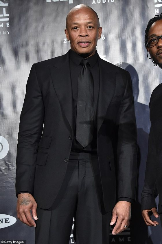New documents: Dr.  Dre, 55, filed a prenuptial agreement stating that he and his estranged wife Nicole Young, 50, would keep all of their property, according to TMZ;  seen in 2016 in New York
