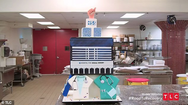 Showing appreciation: The Cake Boss star presented his hand surgeon and HHS with a special cake to show his appreciation