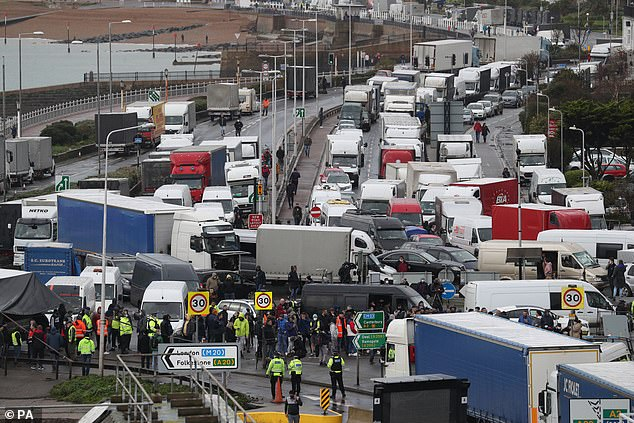 Traffic blocks the roads around the Port of Dover in Kent yesterdayafter French authorities announced that the coronavirus ban had been lifted and journeys from the UK could resume