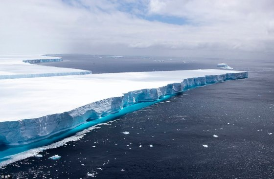 In this recent photo provided by the Department of Defense one of the largest recorded icebergs called the A68a floats near the island of South Georgia in the South Atlantic.