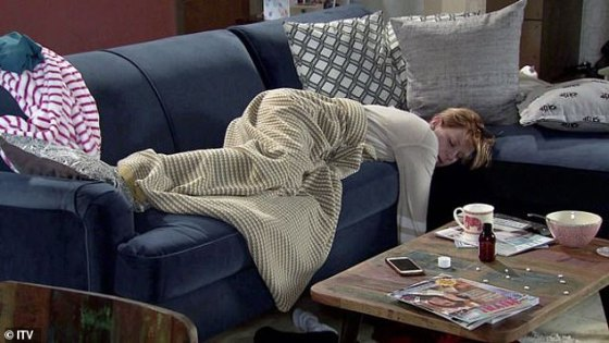 No: Coronation Street spoilers reveal that Leanne Battersby will be unconscious on the sofa next to a bottle of sleeping pills