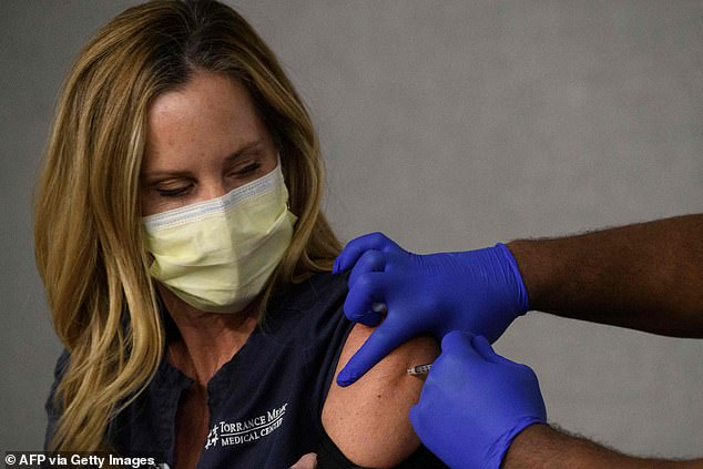 A CDC advisory panel has changed its recommendations to prioritize those aged over 75 in the next stage of the COVID-19 vaccine distribution after facing backlash for suggesting essential workersshould be vaccinated before the elderly. Pictured is a frontline health worker receiving a vaccine shot in California