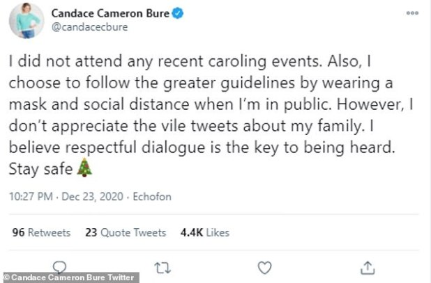 Daniel: Candace Cameron Bure has refused to participate in her brother Kirk's recent Christmas caroling protests
