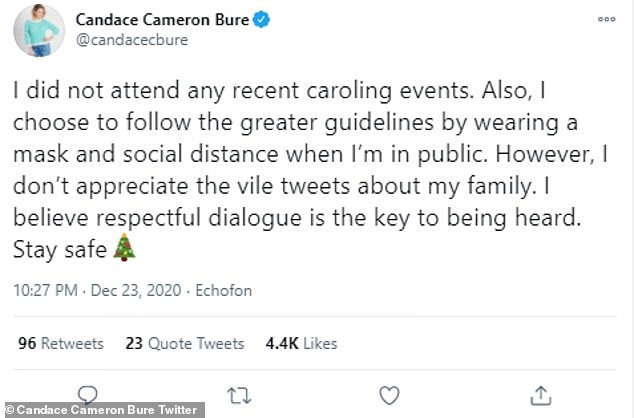 Denial: Candace Cameron Bure has denied she took part in her brother Kirk's recent Christmas caroling protests
