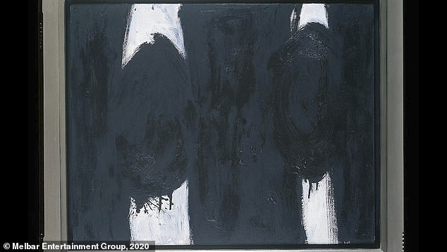 Artist Robert Motherwell (1915-1991) started the Dedalus Foundation in 1981. He was a leading abstract artist and in many ways a spokesman for the movement, Jack Flam, the foundation's president, said in a new documentary, Made You Look. When Freedman brought a Motherwell painting to Flam, he said the signature looked like it came from a template. The art historian tried to talk to her about it. 'We thought were doing her an enormous favor,' Flam recalled. Instead, she disputed it was a fake and Flam decided to go to the FBI, according to the documentary. Above, a fake Motherwell