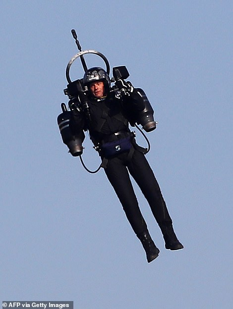 David Mayman, CEO of Jetpack Aviation, says current technology would make Sunday jetpack viewing nearly impossible.  Pictured, 'Jetpack Man' flies during the 2018 Red Bull Air Race World Championships in Cannes