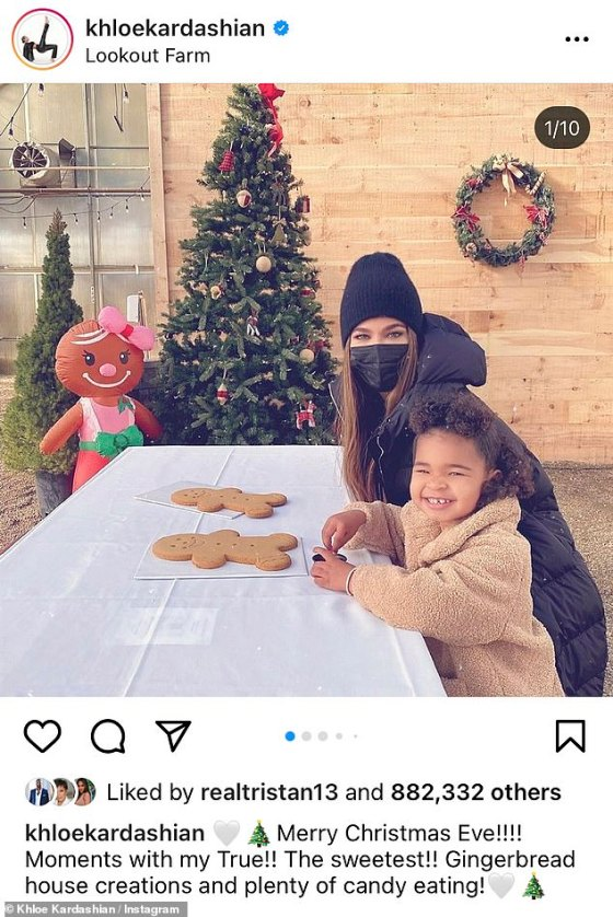 Holiday treats: Khloé Kardashian, 36, and her daughter True Thompson spent some quality time at Lookout Farm Brewery in Natick, Massachusetts while decorating gingerbread on Thursday.