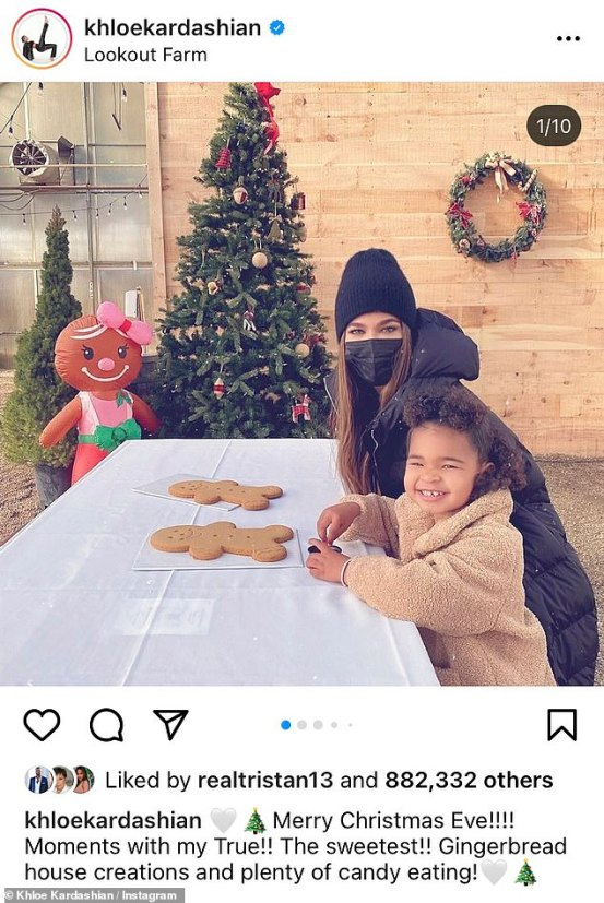 Khloe Kardashian and True decorate the gingerbread while visiting Tristan Thompson in Boston