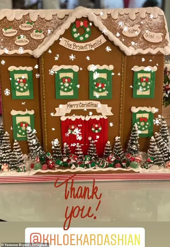 Sweet: On Tuesday, Vanessa and her daughter Bianca leaked over a beautiful gingerbread house sent to her by Khloé, which contained the names of all members of her family, including Kobe and their daughter Gigi.