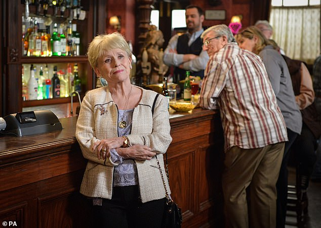 Goodbye Albert Square: Barbara played beloved Peggy Mitchell in the BBC1 soap opera from 1994 to 2016 (pictured saying goodbye in Albert Square for the last time in 2016)