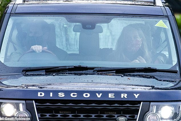 Prince Edward and his wife Sophie, Countess of Wessex, (pictured in their face masks) attended a Christmas Day church service in Sandringham this morning