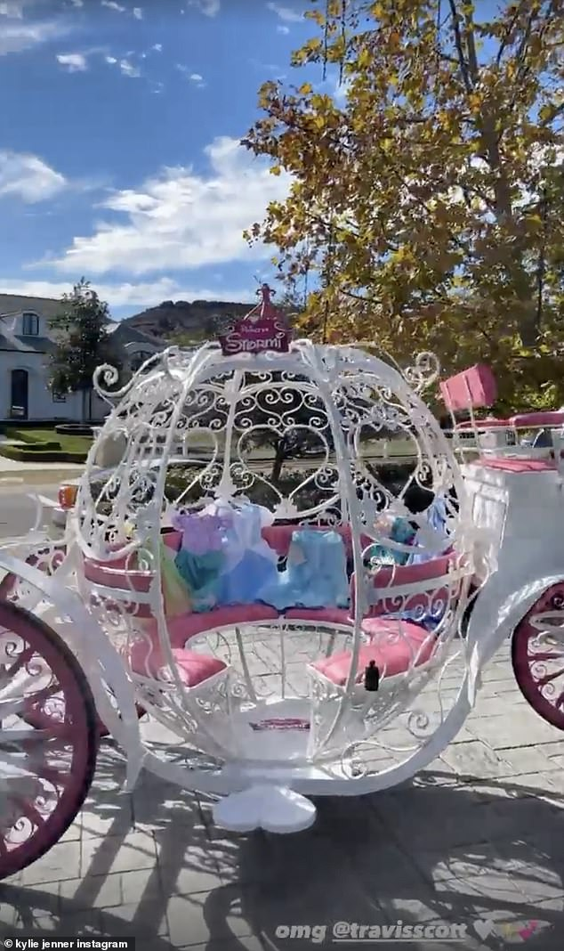 Wardrobe:Kylie, who shared footage of the epic gift with her 206million followers on Instagram, revealed that a slew of Disney Princess costumes were resting inside the carriage