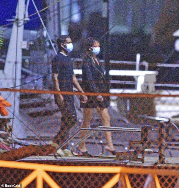 SMART: Both Rihanna and A $ AP protected themselves and others by wearing blue disposable masks amid the global coronavirus epidemic