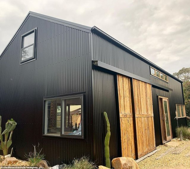 This blue shed is a family-of-four's 'dream home'. Built using as many recycled materials as possible and for a small budget