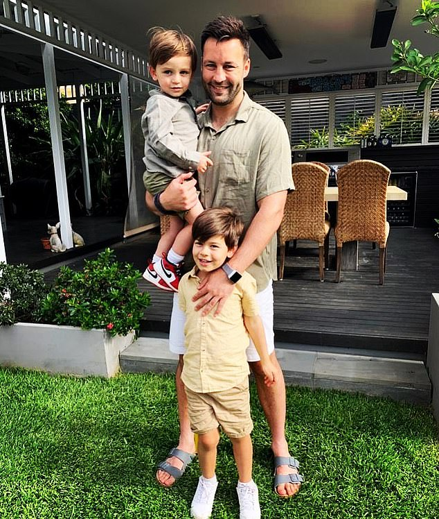 Where's Lauren? Jimmy Bartel, 37, added fuel to swirling rumours he's split from girlfriend Lauren Mand on Saturday when he uploaded this photo of himself and his sonsAston, five, and Henley, two, celebrating Christmas - with Lauren nowhere in sight