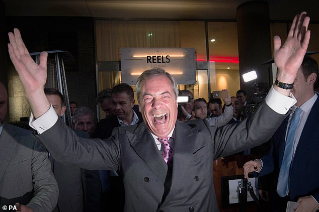 I decided to fight for the cause of national independence via a brand new political party called Ukip (pictured: Nigel Farage at the Leave.EU party in London)