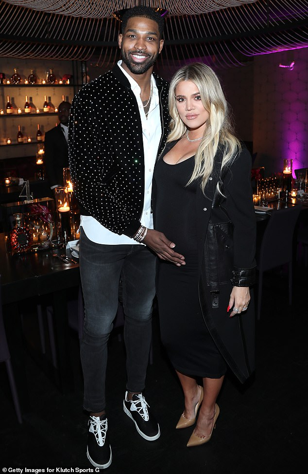Family fun: A source told People: 'Khloé and True had a fun week in Boston. They played in the snow, shopped and enjoyed holiday outings. They also celebrated an early Christmas with Tristan since they couldn't all be together on Christmas Day.' (pictured in February, 2018)