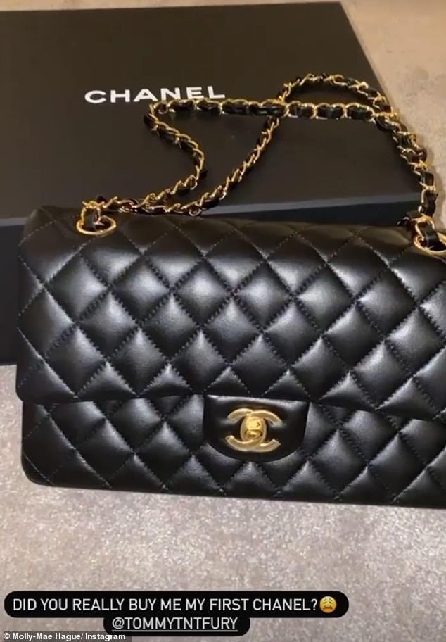 Chic: Her lambskin present featured the classic Chanel interlaced chain and golden CC clasp as Molly-Mae wrote: 'Did you really buy me my first Chanel?' while tagging her beau, 21