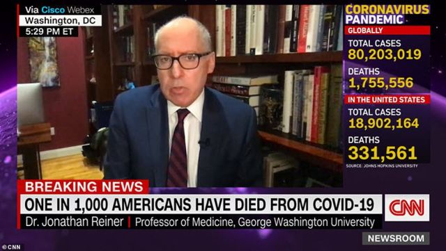 Dr. Jonathan Reiner, a cardiologist at the George Washington University School of Medicine and Health Sciences, appeared on CNN on Saturday and expressed worry about Americans being hesitant to get vaccinated against COVID-19