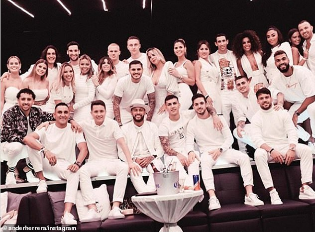 Neymar (front, centre) hosted his PSG team-mates and their WAGs at his 28th birthday party