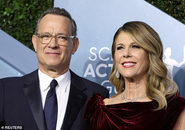 Vaccination: Tom recently opened up about his plans with wife Rita Wilson to get vaccinated for COVID-19 at the right time, on the Today show - the couple contracted the virus earlier this year (pictured March 2020)