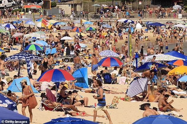 Large crowds pictured at Bondi Beach, Sydney, on Sunday. Northern Beaches residents are getting angry that southern suburbs get to party while they are locked down
